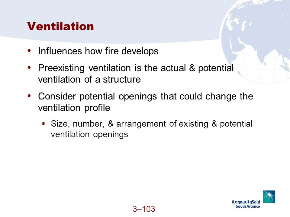 Ventilation Influences how fire develops