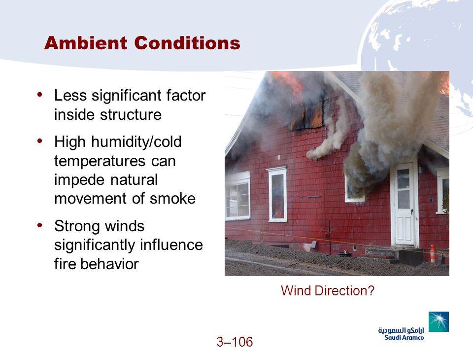 Ambient Conditions Less significant factor inside structure