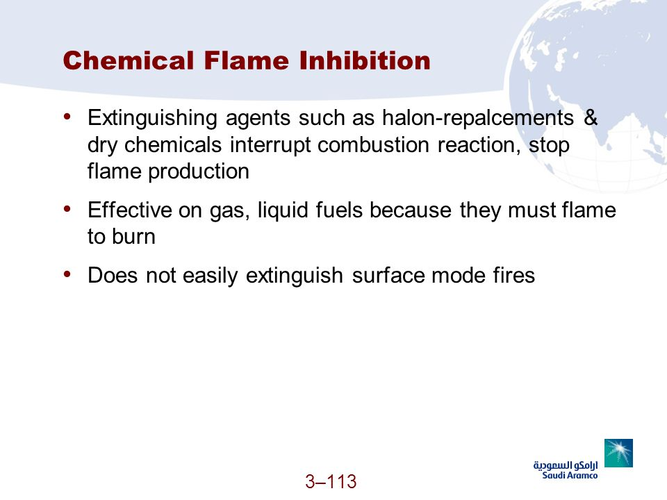 Chemical Flame Inhibition