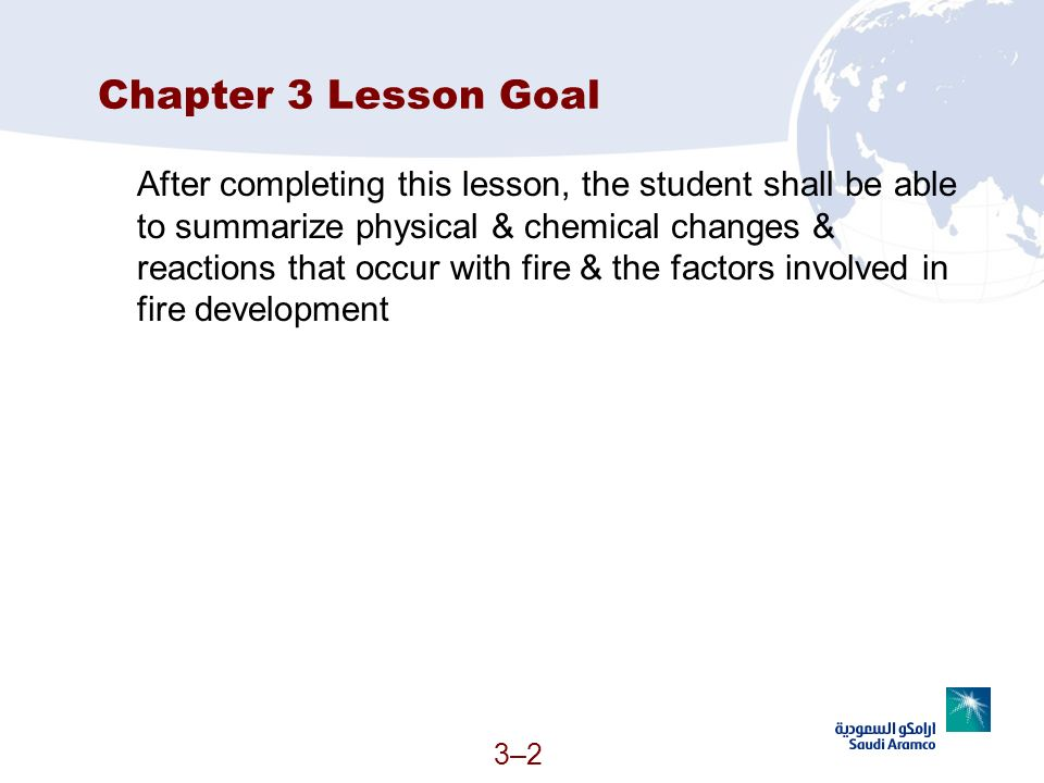 Chapter 3 Lesson Goal