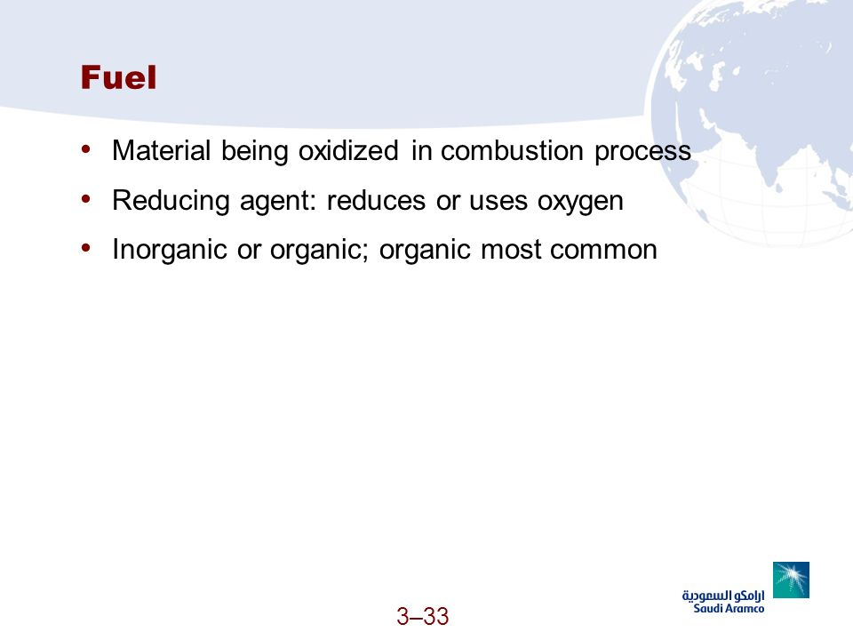 Fuel Material being oxidized in combustion process