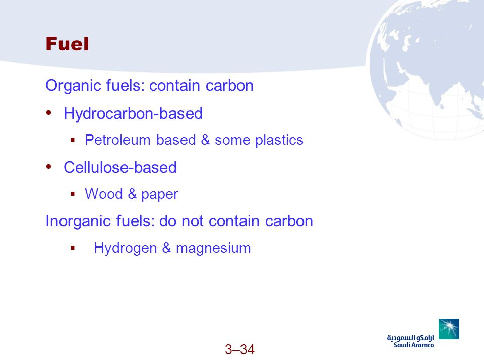 Fuel Organic fuels: contain carbon Hydrocarbon-based Cellulose-based