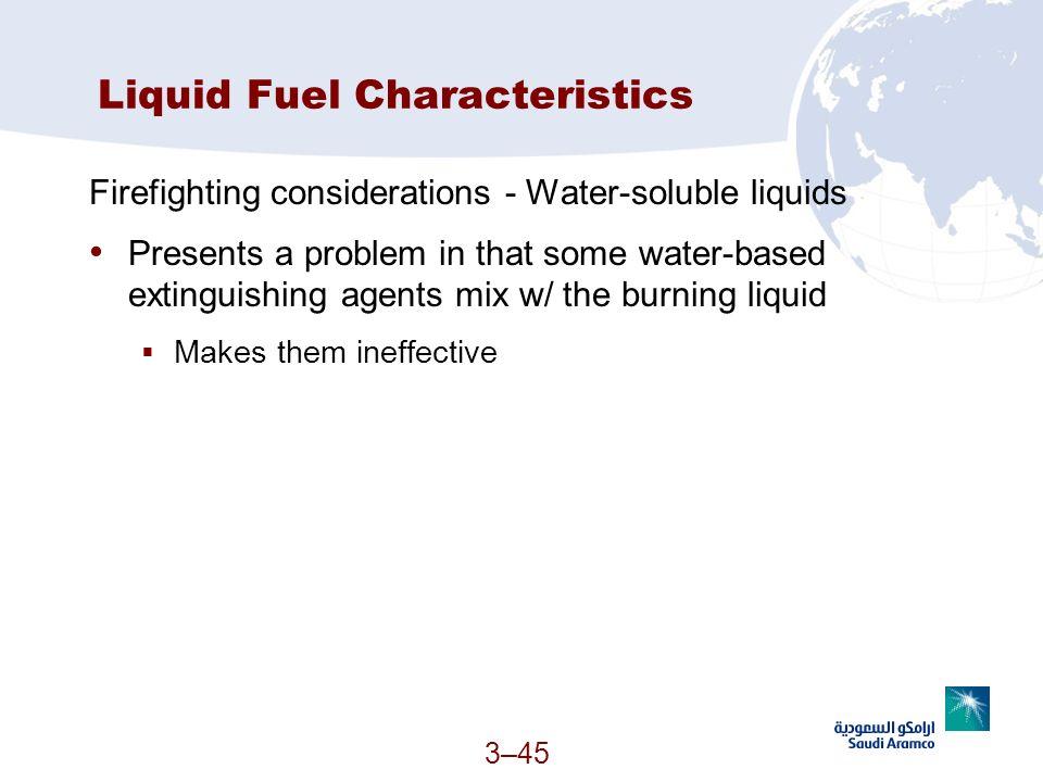 Liquid Fuel Characteristics