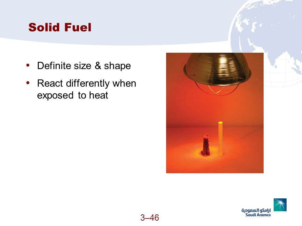 Solid Fuel Definite size & shape