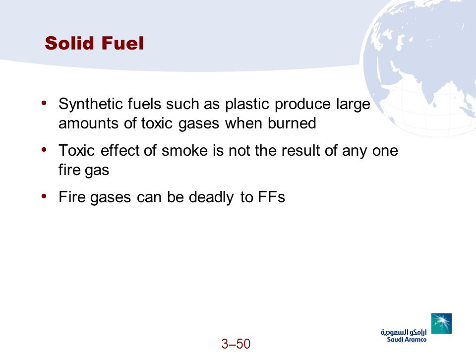Solid Fuel Synthetic fuels such as plastic produce large amounts of toxic gases when burned.