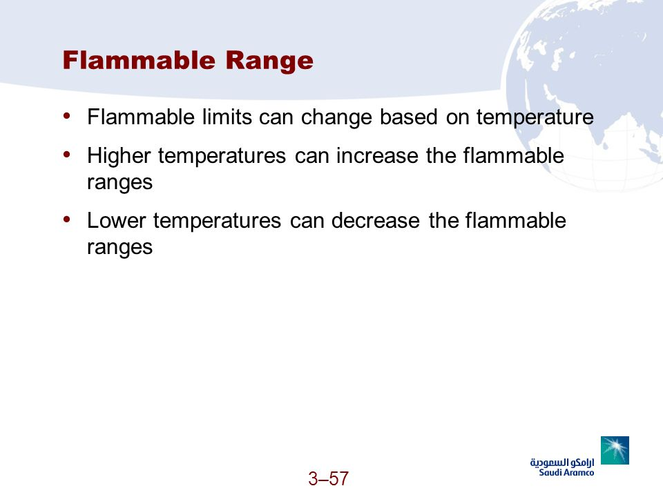 Flammable Range Flammable limits can change based on temperature