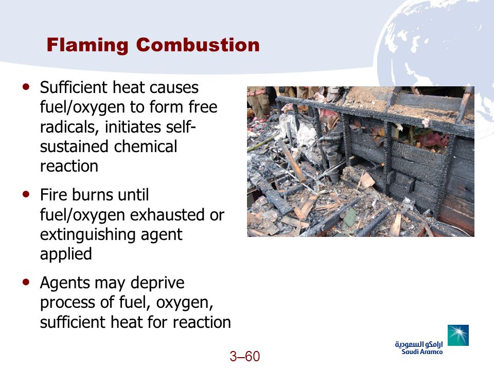 Flaming Combustion Sufficient heat causes fuel/oxygen to form free radicals, initiates self-sustained chemical reaction.