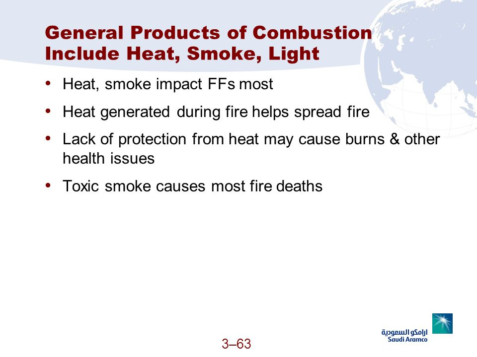 General Products of Combustion Include Heat, Smoke, Light