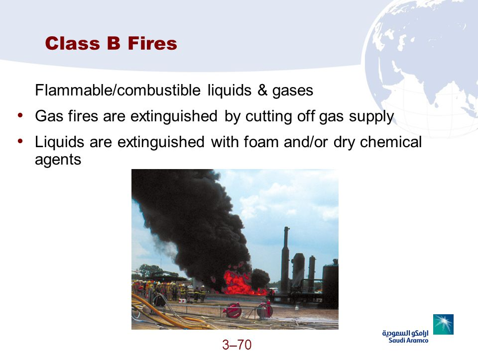 Class B Fires Flammable/combustible liquids & gases