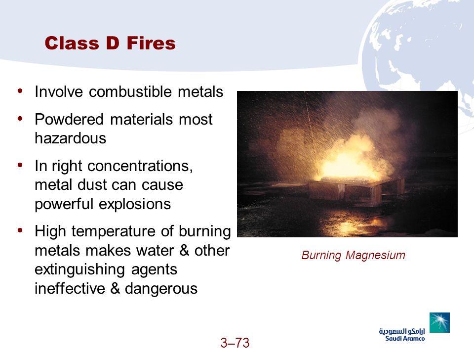 Class D Fires Involve combustible metals