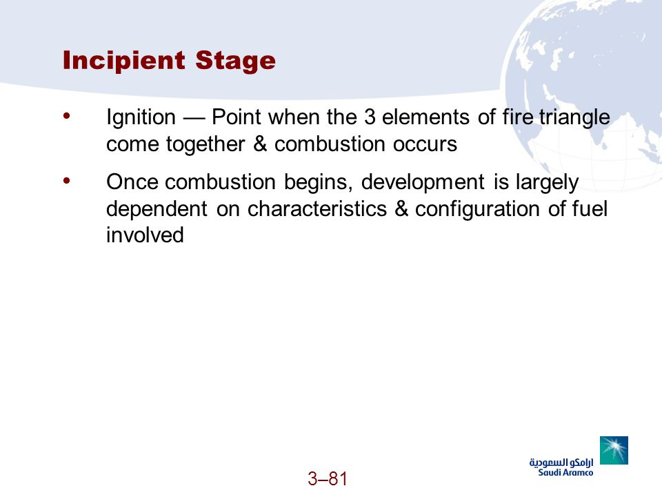 Incipient Stage Ignition — Point when the 3 elements of fire triangle come together & combustion occurs.