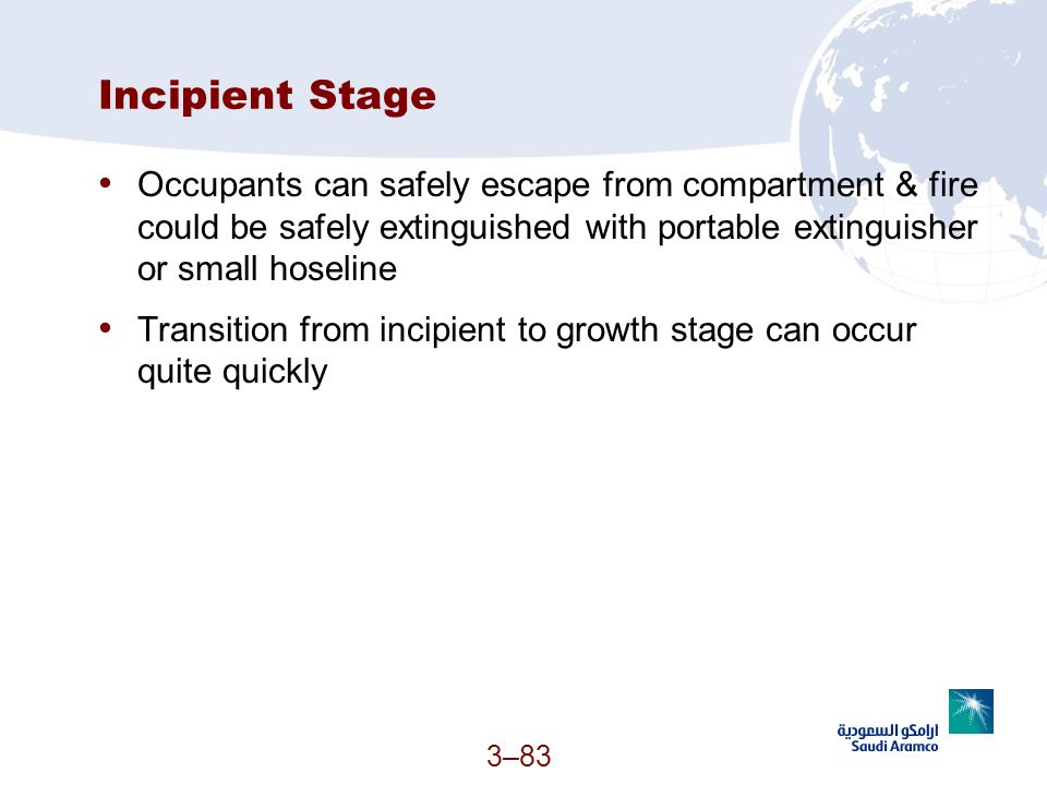 Incipient Stage Occupants can safely escape from compartment & fire could be safely extinguished with portable extinguisher or small hoseline.
