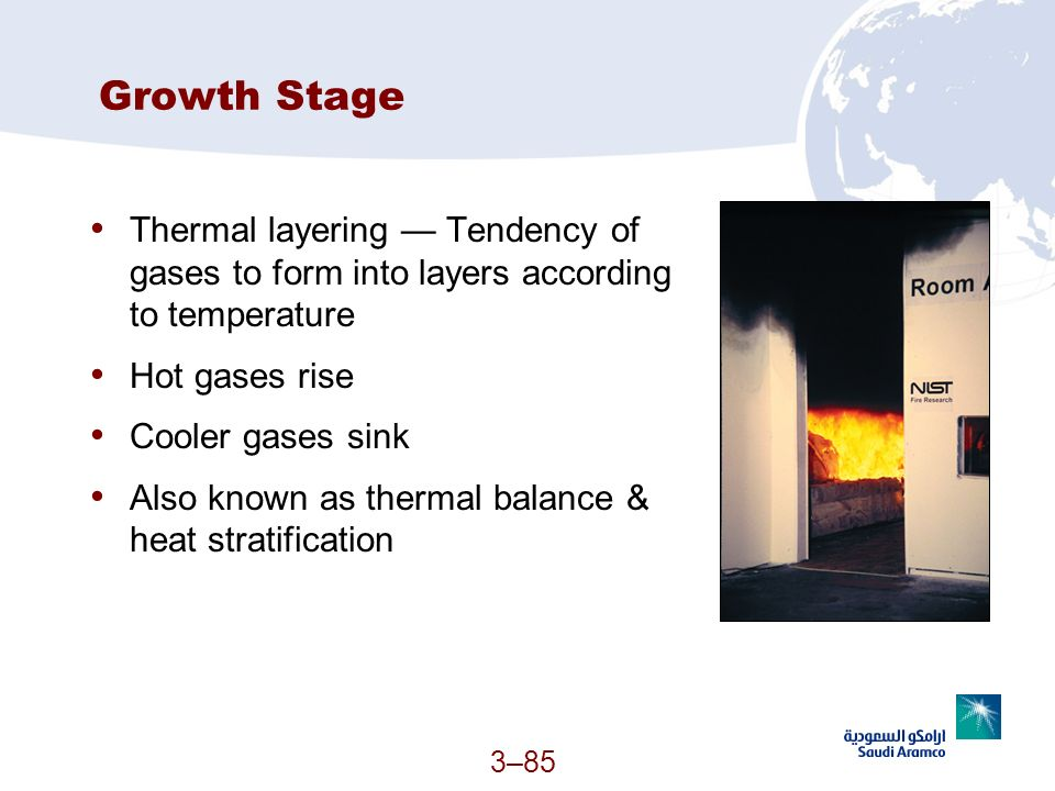 Growth Stage Thermal layering — Tendency of gases to form into layers according to temperature. Hot gases rise.