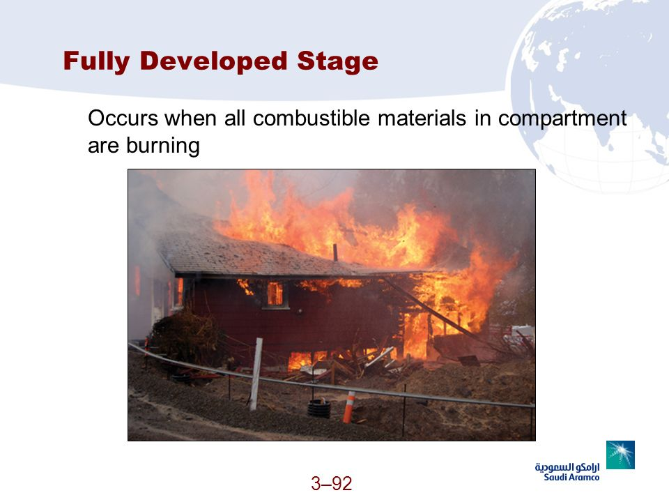 Fully Developed Stage Occurs when all combustible materials in compartment are burning (Continued)