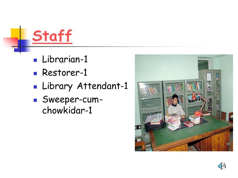 Staff Librarian-1 Restorer-1 Library Attendant-1