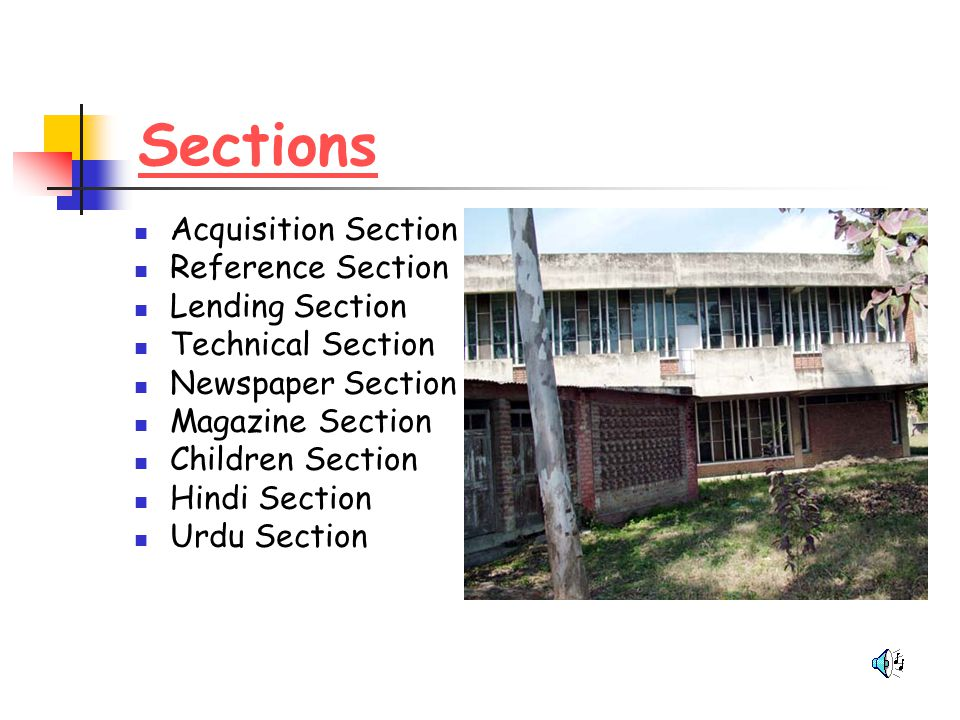 Sections Acquisition Section Reference Section Lending Section