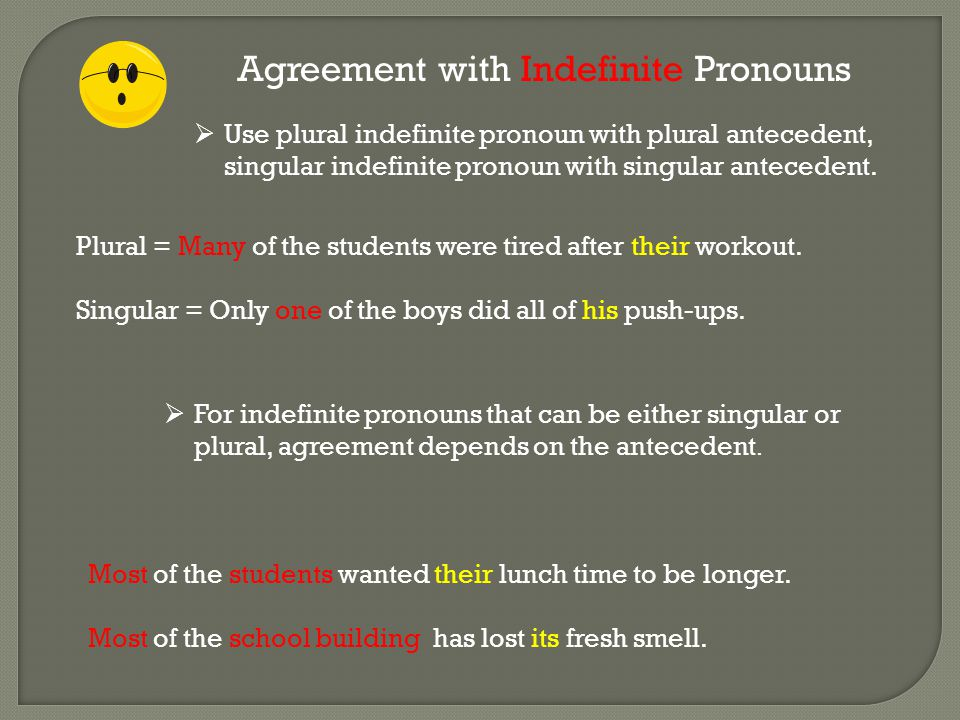 Agreement with Indefinite Pronouns