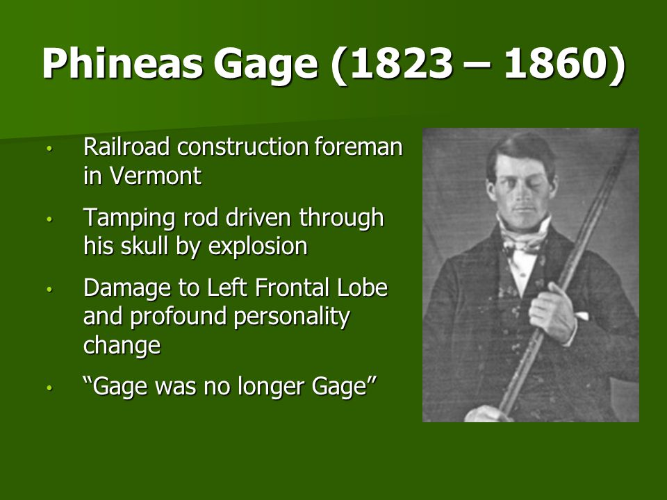 Phineas Gage (1823 – 1860) Railroad construction foreman in Vermont