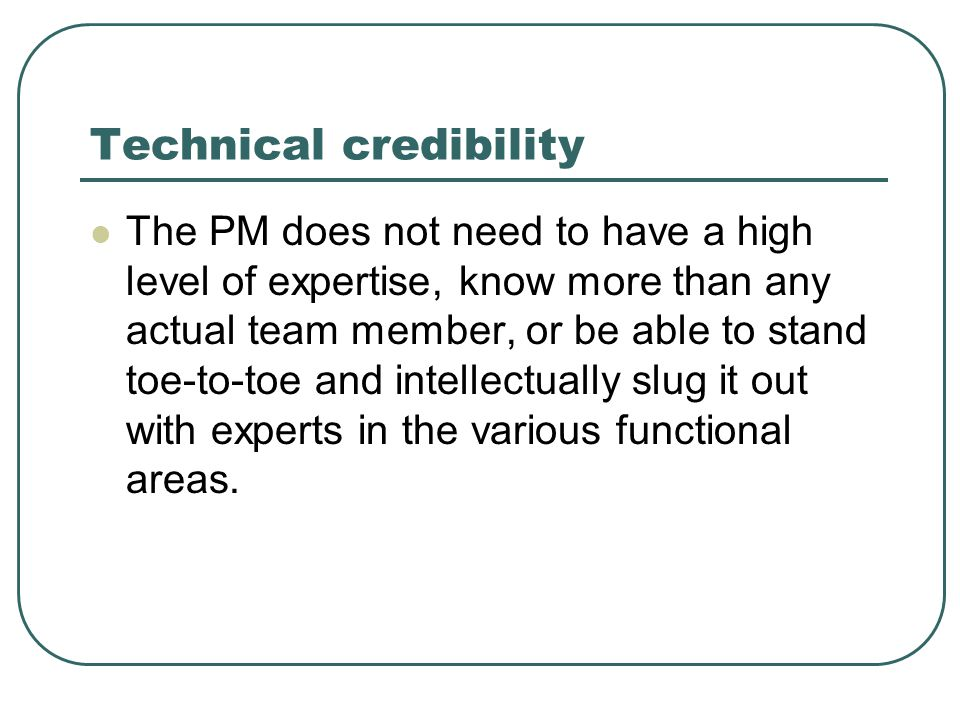 Technical credibility