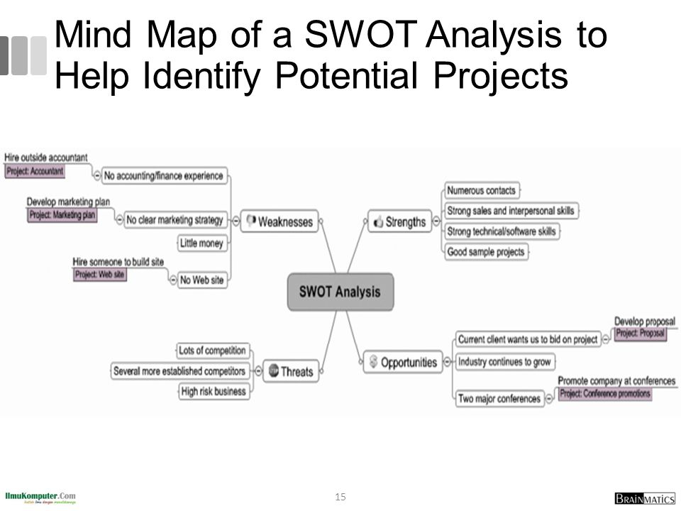 Mind Map of a SWOT Analysis to Help Identify Potential Projects