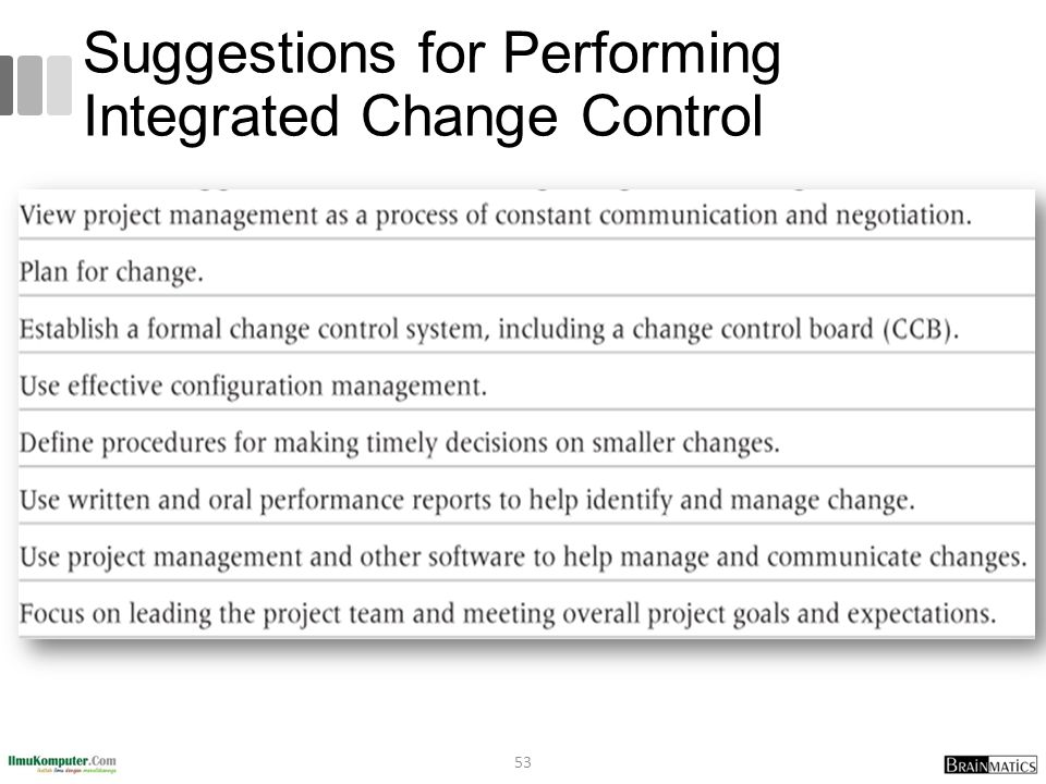 Suggestions for Performing Integrated Change Control