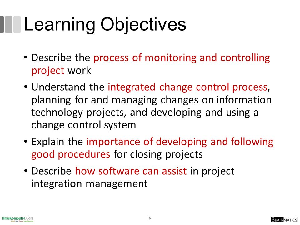 Learning Objectives Describe the process of monitoring and controlling project work.