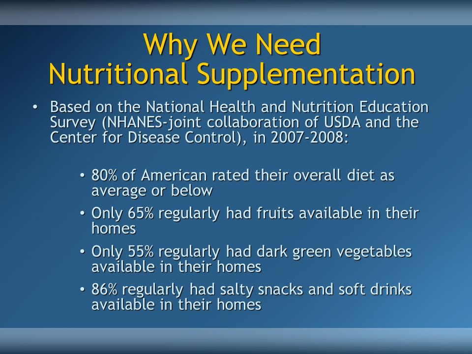 Why We Need Nutritional Supplementation