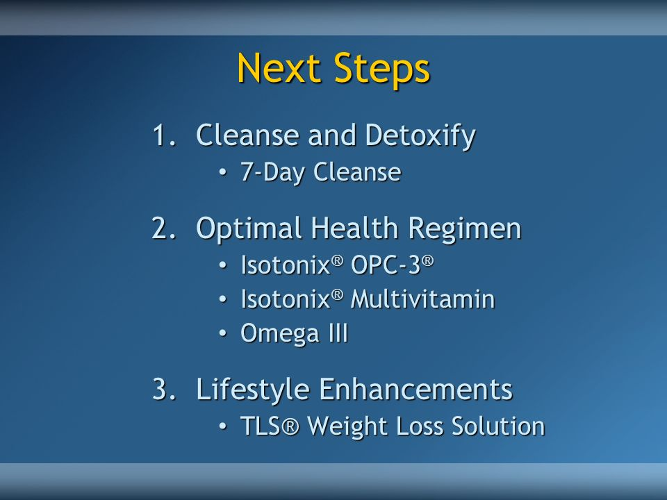 Next Steps Cleanse and Detoxify Optimal Health Regimen