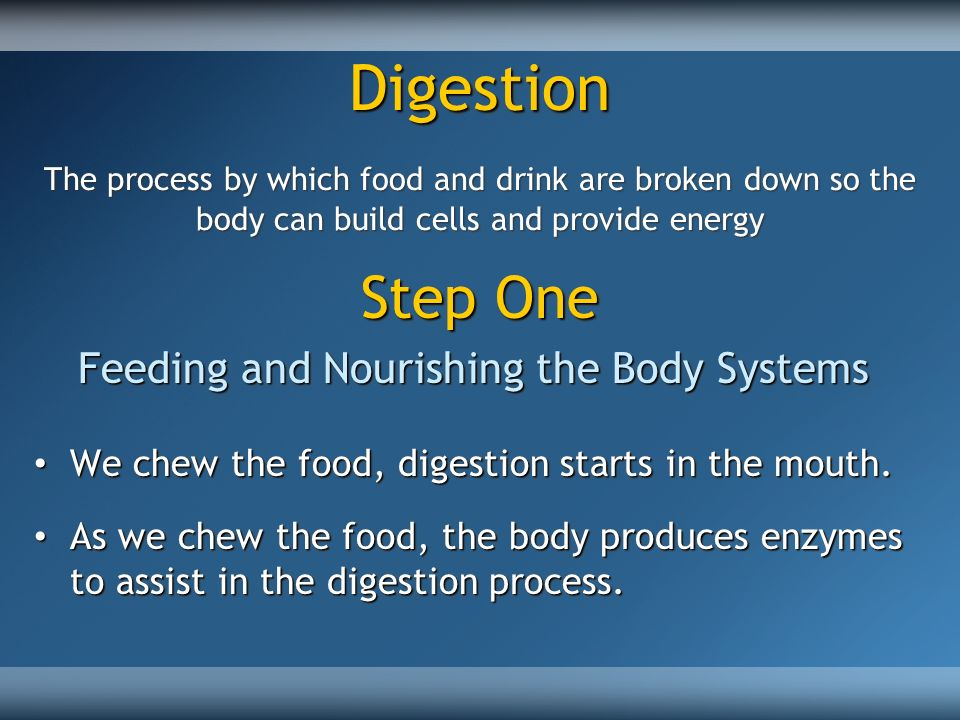 Digestion The process by which food and drink are broken down so the body can build cells and provide energy