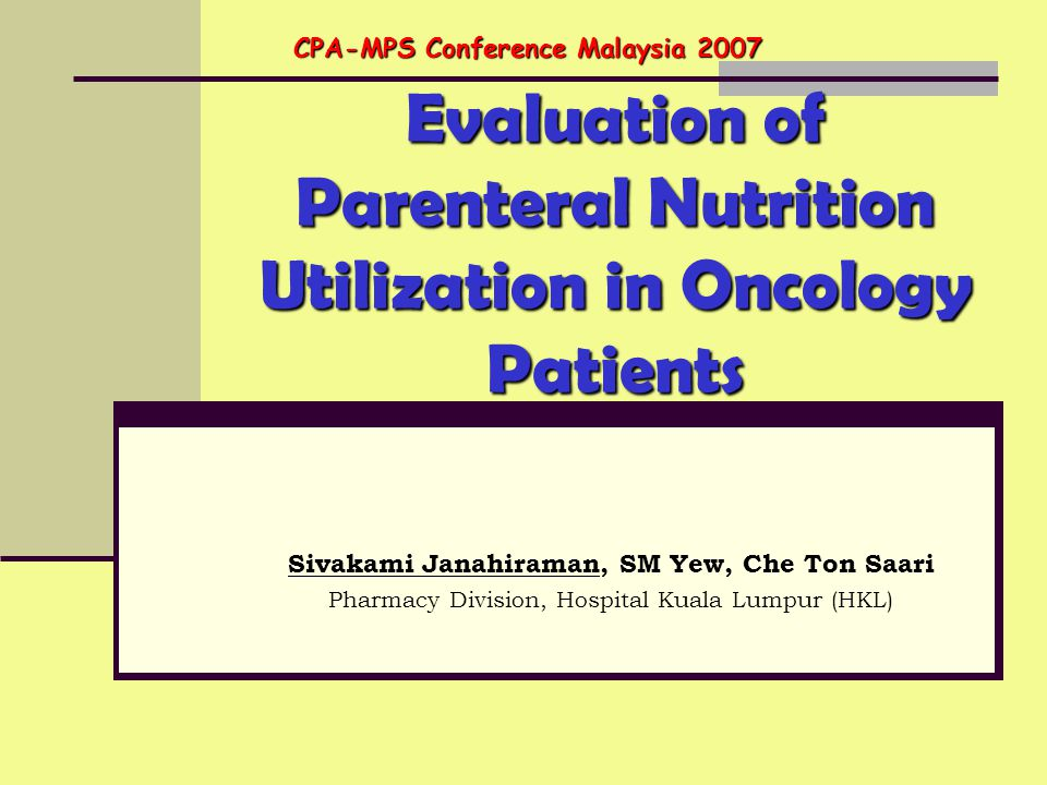 Evaluation of Parenteral Nutrition Utilization in Oncology Patients