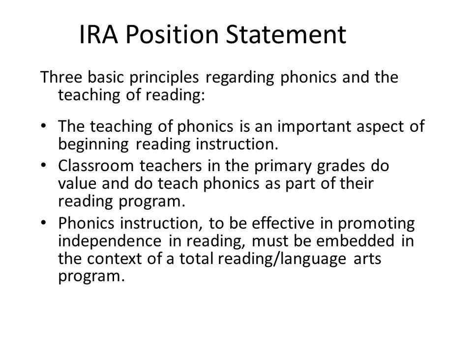 IRA Position Statement