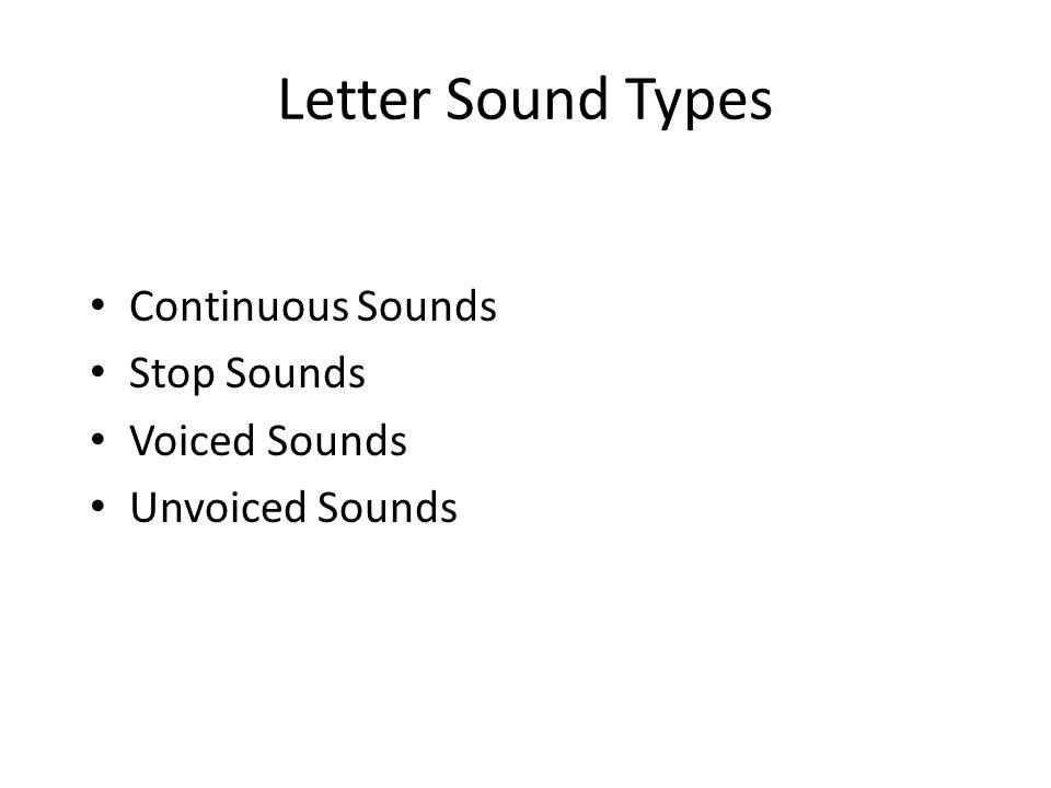 Letter Sound Types Continuous Sounds Stop Sounds Voiced Sounds