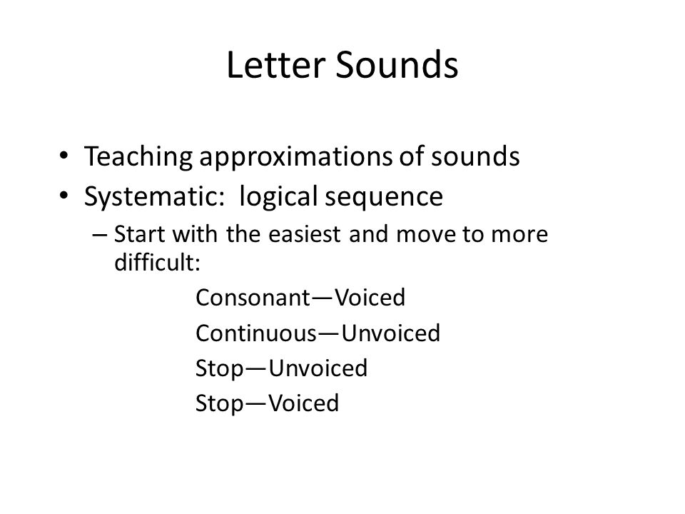 Letter Sounds Teaching approximations of sounds