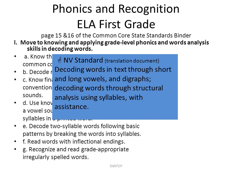 Phonics and Recognition ELA First Grade page 15 &16 of the Common Core State Standards Binder