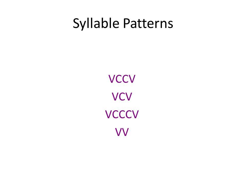 Syllable Patterns VCCV VCV VCCCV VV