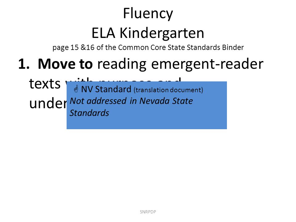 Fluency ELA Kindergarten page 15 &16 of the Common Core State Standards Binder