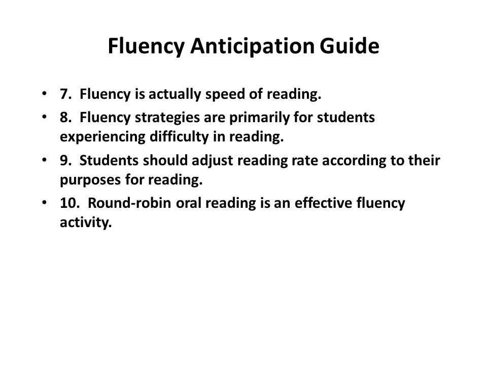 Fluency Anticipation Guide