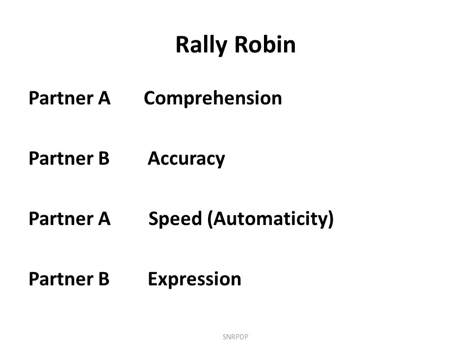 Rally Robin Partner A Comprehension Partner B Accuracy Partner A Speed (Automaticity) Partner B Expression