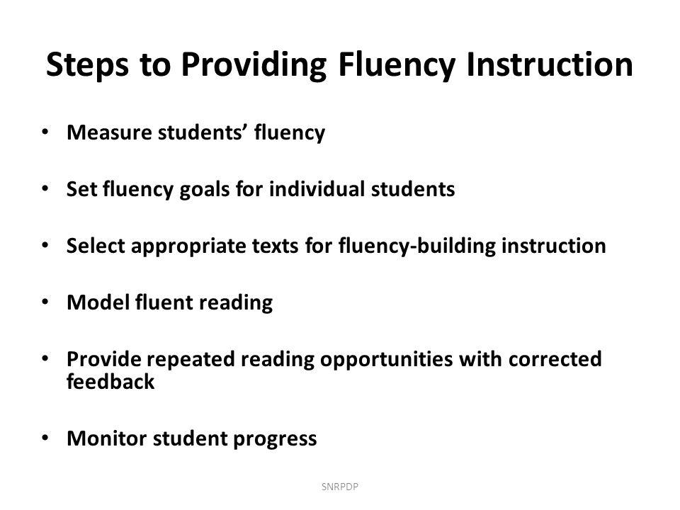 Steps to Providing Fluency Instruction
