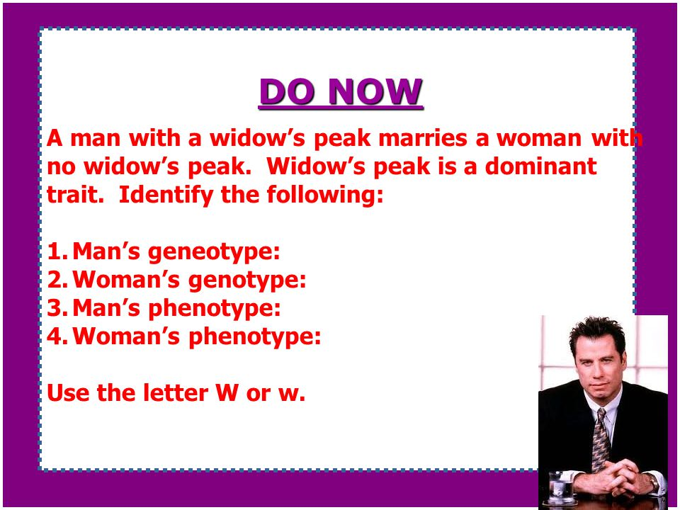 DO NOW A man with a widow's peak marries a woman with no widow's peak. Widow's peak is a dominant trait. Identify the following: