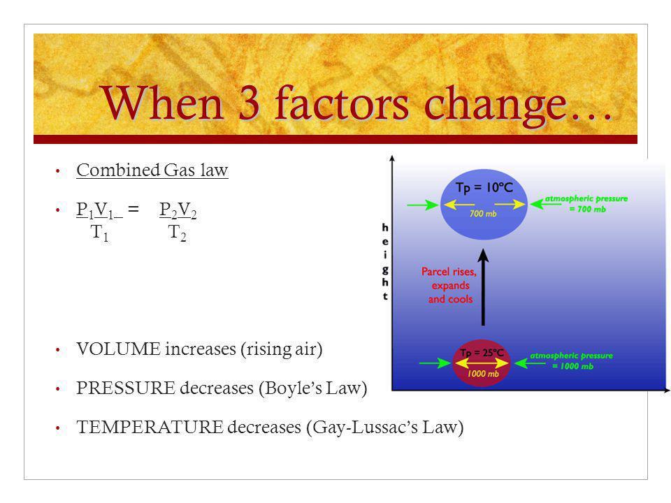 When 3 factors change… Combined Gas law P1V1 = P2V2 T1 T2