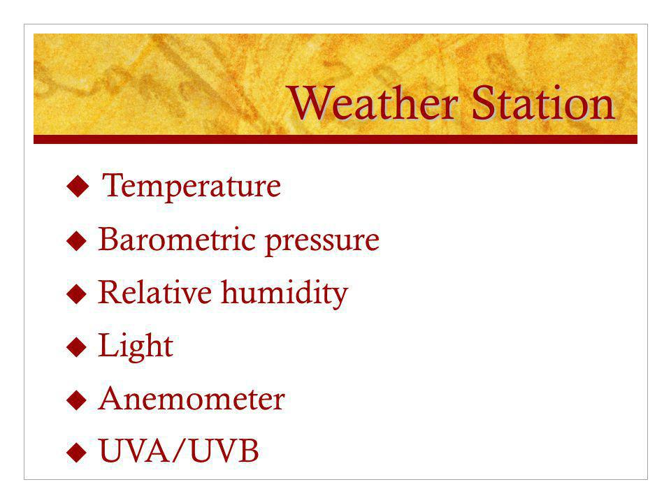 Weather Station Temperature Barometric pressure Relative humidity