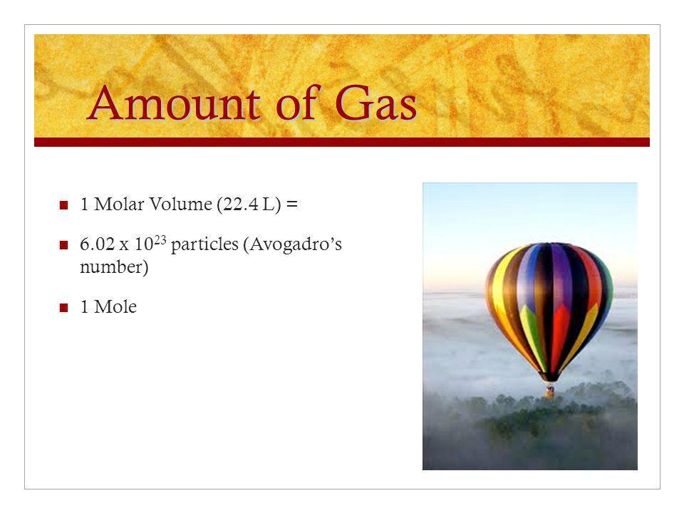 Amount of Gas 1 Molar Volume (22.4 L) =