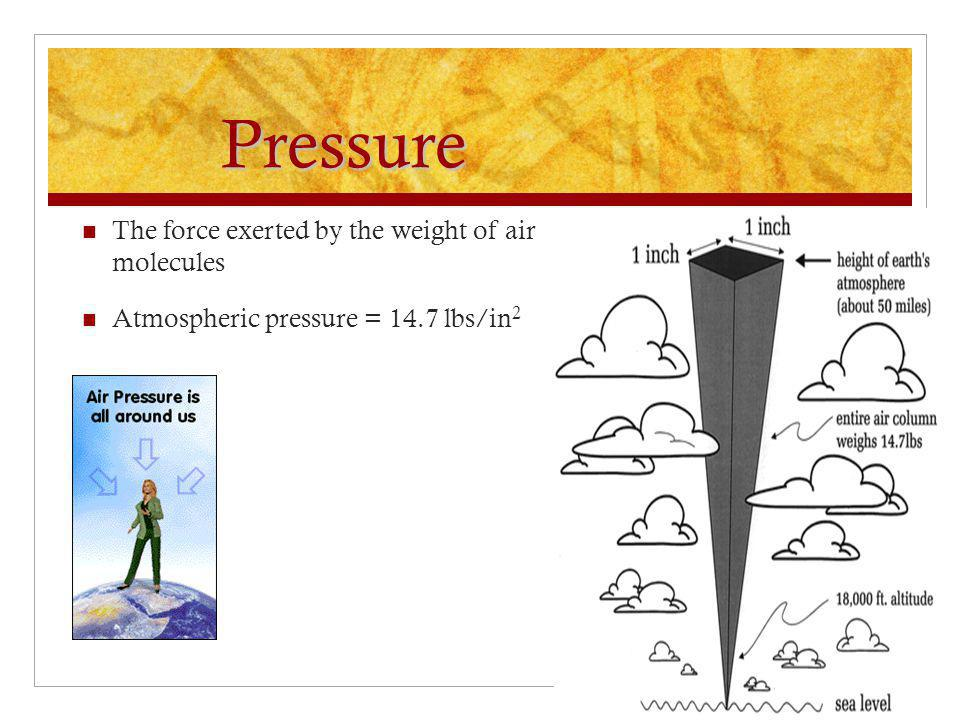 Pressure The force exerted by the weight of air molecules