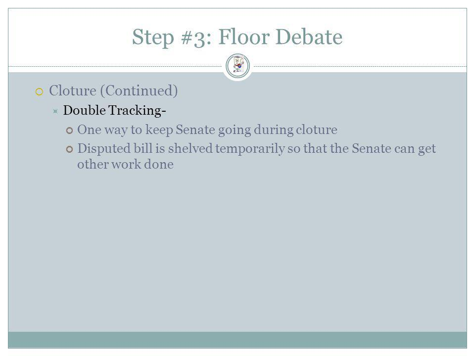Step #3: Floor Debate Cloture (Continued) Double Tracking-