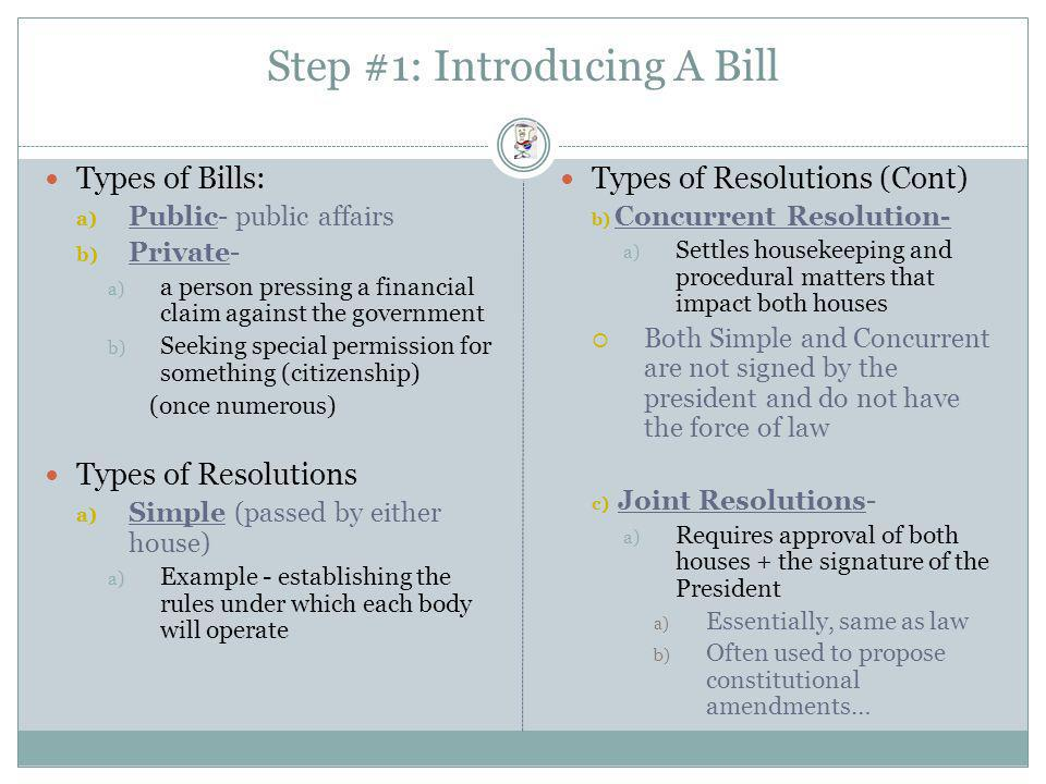 Step #1: Introducing A Bill
