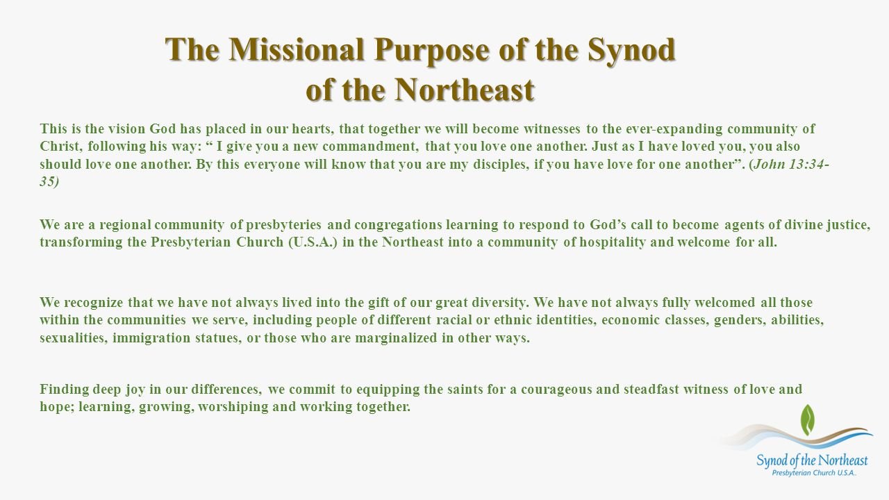 The Missional Purpose of the Synod of the Northeast