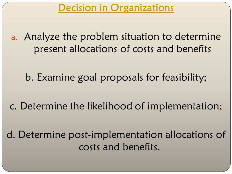 Decision in Organizations