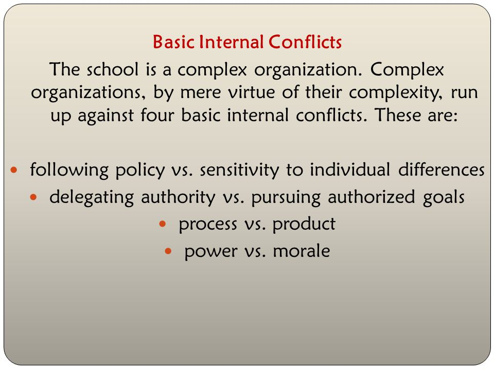 Basic Internal Conflicts