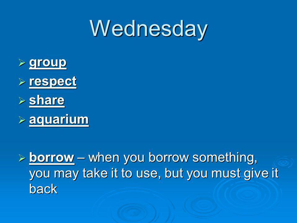 Wednesday group respect share aquarium
